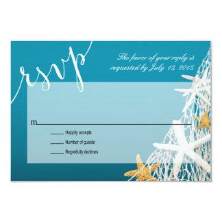 Starfish Netting Beach Wedding RSVP   azure blue Card