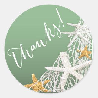 Starfish Netting Beach Wedding Thank You | jade Classic Round Sticker