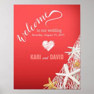Starfish Netting Beach Wedding Welcome Sign coral Print