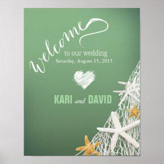 Starfish Netting Beach Wedding Welcome Sign | jade