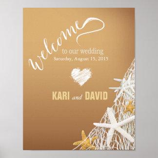 Starfish Netting Beach Wedding Welcome Sign | sand Print