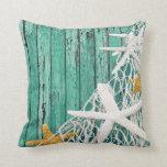 Starfish Netting Beach Wood | aqua Pillows