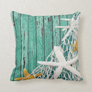 Starfish Netting Beach Wood | aqua Throw Pillow