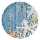 Starfish Netting Beach Wood | blue Melamine Plate