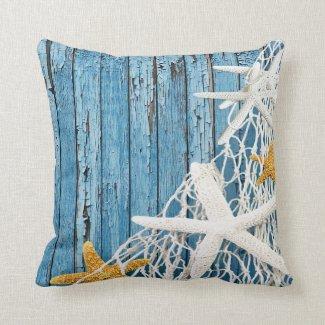 Starfish Netting Beach Wood | blue Pillows