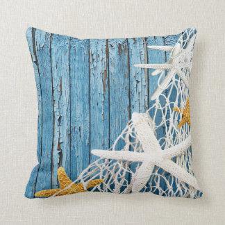 Starfish Netting Beach Wood | blue Throw Pillow