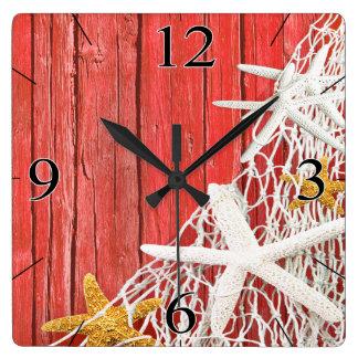 Starfish Netting Beach Wood Coastal Living | coral Square Wall Clock
