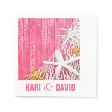 Beach Themed Starfish Netting Beach Wood Cocktail Party | pink Napkin
