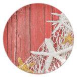 Starfish Netting Beach Wood | coral Melamine Plate