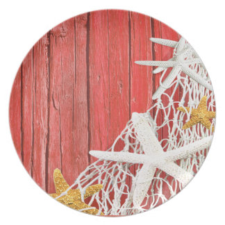 Starfish Netting Beach Wood | coral Party Plates