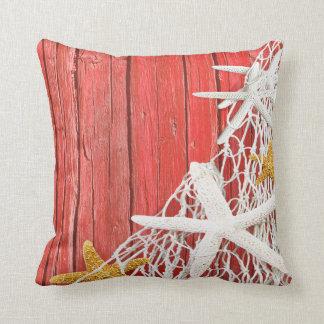 Starfish Netting Beach Wood | coral Throw Pillow
