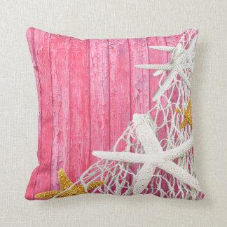 Starfish Netting Beach Wood | pink Throw Pillow
