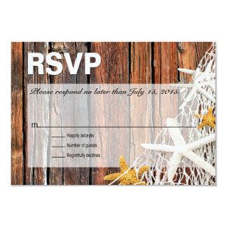 Starfish Netting Beach Wood RSVP | brown Card