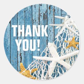 Starfish Netting Beach Wood Thank You | blue Classic Round Sticker