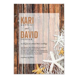 Starfish Netting Beach Wood Wedding | brown 5x7 Paper Invitation Card