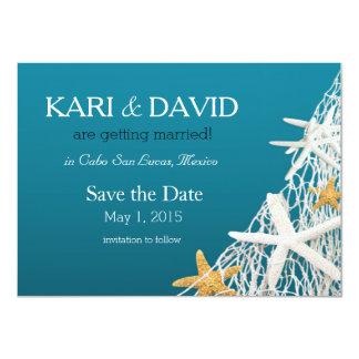 Starfish Netting Save the Date   azure blue Card