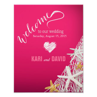 Starfish Netting Wedding Welcome Sign | fuschia