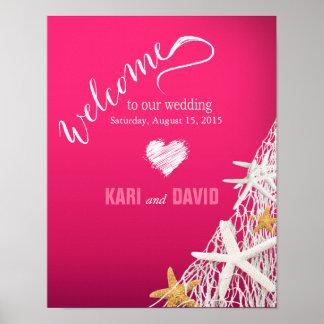 Starfish Netting Wedding Welcome Sign | fuschia Print