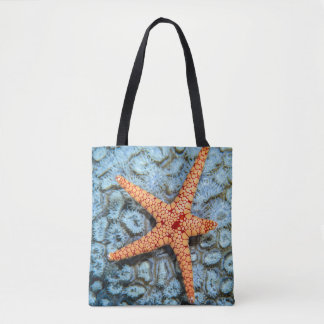 Starfish On A Coral With Polips Tote Bag