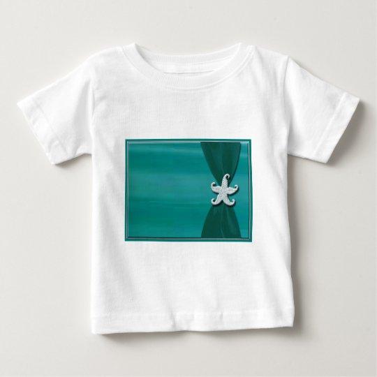 Starfish on aqua ribbon with silver trim baby T-Shirt