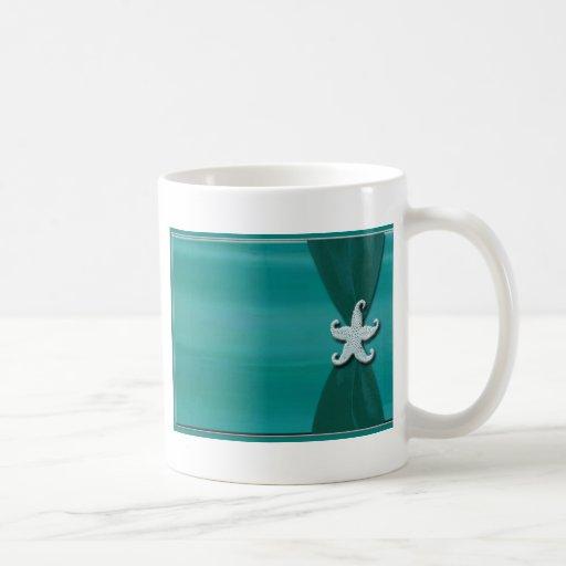 Starfish on aqua ribbon with silver trim coffee mug