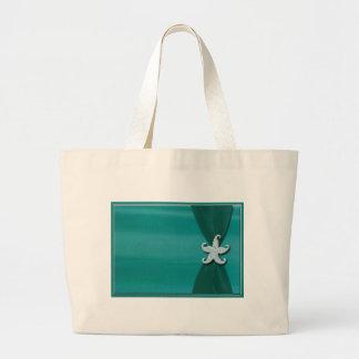 Starfish on aqua ribbon with silver trim jumbo tote bag