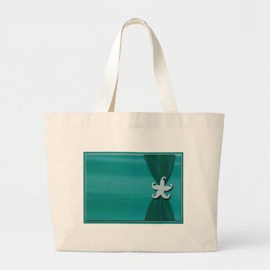 Starfish on aqua ribbon with silver trim large tote bag
