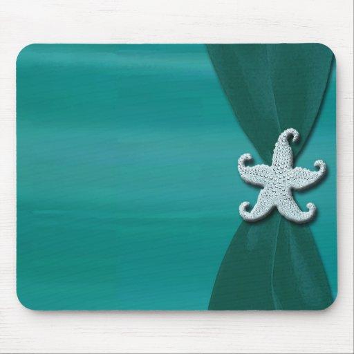 Starfish on Aqua Ribbon with Silver Trim Mouse Pad