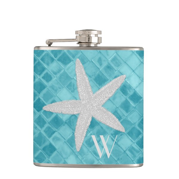 Starfish on Aqua Sea Glass Monogram Hip Flask