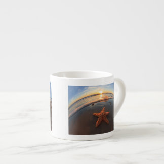 Starfish on Beach at Sunset Espresso Cup