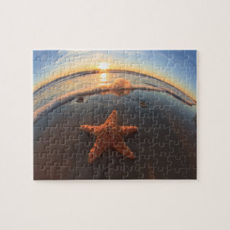 Starfish on Beach at Sunset Jigsaw Puzzle