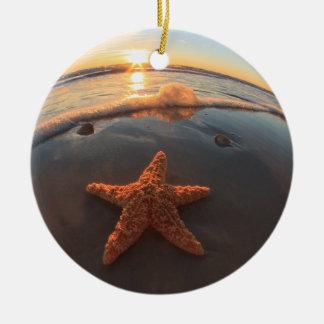 Starfish on Beach at Sunset Christmas Ornament