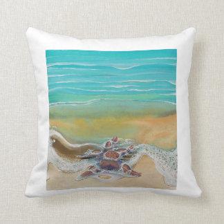 Starfish on Beach by Julie Ann Stricklin Pillow