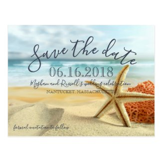 Starfish on Beach Wedding Save the Date Postcard