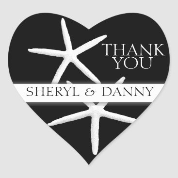 Valentines Themed Starfish on Black, Heart-Shaped Thank You Stickers