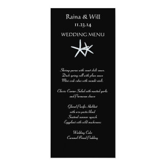 Starfish on Black, Tall Wedding Menu Card