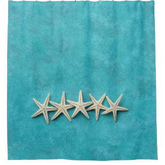 Starfish on Ocean Blue Background Shower Curtain