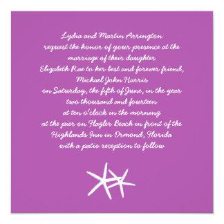 Starfish on Purple, Beach Themed Wedding Invite