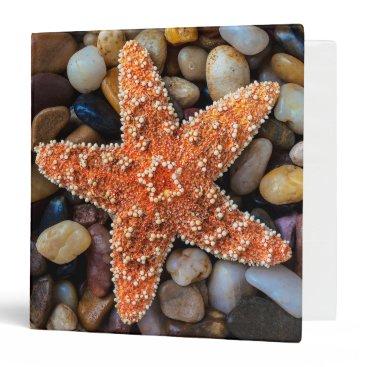 USA Themed Starfish On Rocks 3 Ring Binder