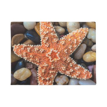 USA Themed Starfish On Rocks Doormat