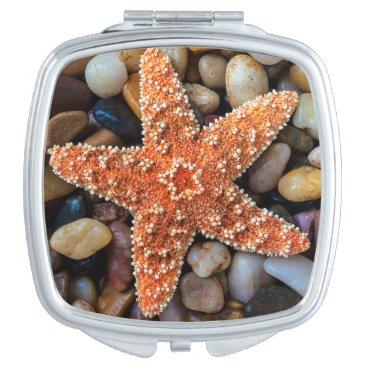 USA Themed Starfish On Rocks Mirror For Makeup