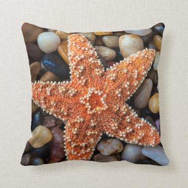 USA Themed Starfish On Rocks Throw Pillow