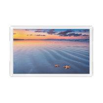 Starfish On Sand Acrylic Tray