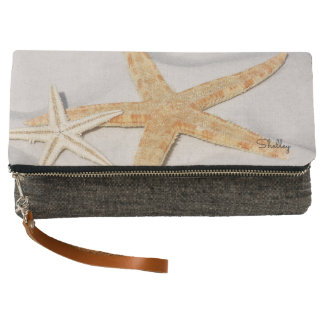 Starfish on sand, beach lover, name clutch