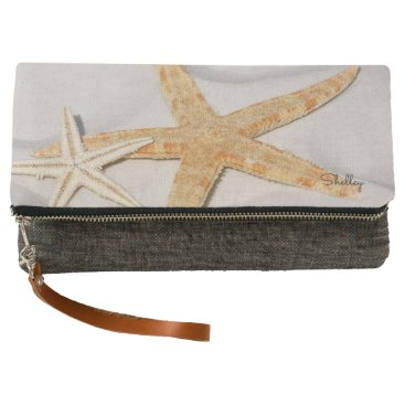Beach Themed Starfish on sand, beach lover, name clutch