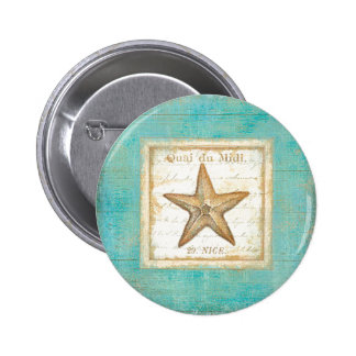 Starfish on Teal Wood Button