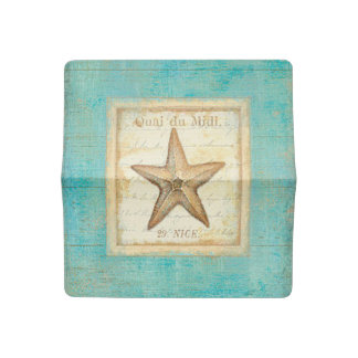 Starfish on Teal Wood Checkbook Cover