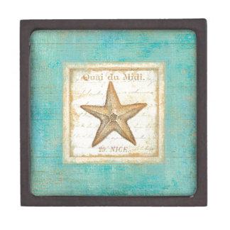Starfish on Teal Wood Gift Box