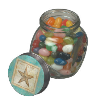 Starfish on Teal Wood Glass Candy Jar