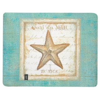 Starfish on Teal Wood Journal